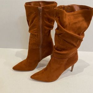 Mid-Calf Chestnut Brown High Heeled Suede Boots